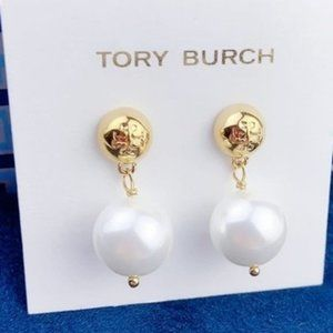 Tory Burch 18k Gold Earrings With White Faux Pearl